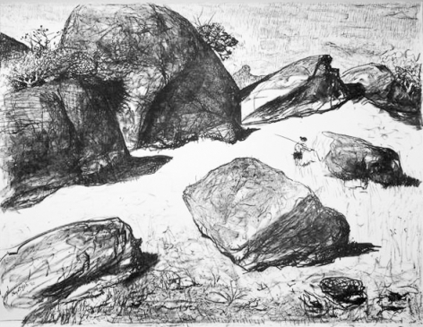 Lloyd Rees Boulders at Werri Beach I, 1980 from the Caloola Suite Lithograph Printed by Fred Genis