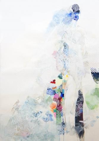 Amanda Humphries Mountain Heart  watercolour, gouache and thread on paper   171.5 cm x 123.5 cm  2018