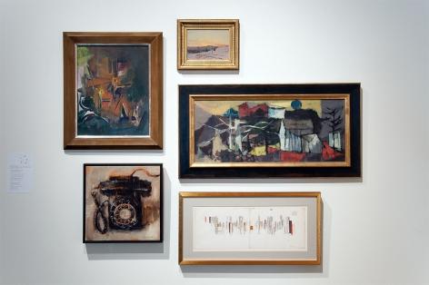 MIXOLOGY exhibition installation with Sidney Gordin, Bradford Salamon, Sueo Serisawa, William Dole, and Lockwood de Forest