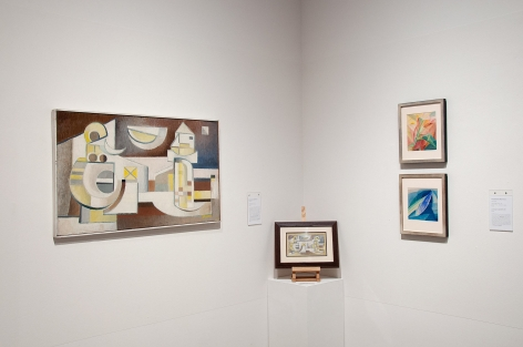 Installation photograph of CALIFORNIA BAUHAUS with Elise Seeds and Werner Drewes
