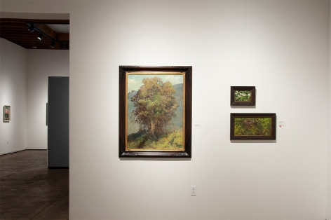 Installation photograph of MEREDITH BROOKS ABBOTT: Homestead with Blackberry Blossoms - Study, Nest in the Apricot Tree, and The Eucalyptus