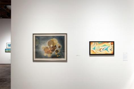 Installation photograph of CALIFORNIA BAUHAUS with Oskar Fischinger and Angela Perko