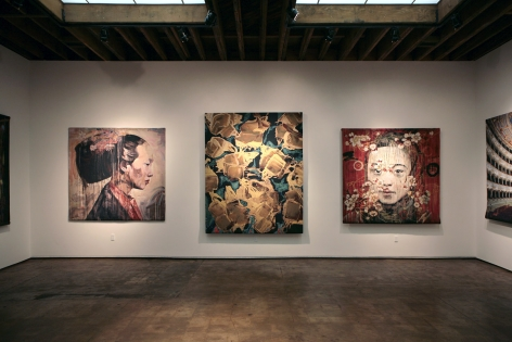 Installation photograph of Tapestries exhibition, Hung Liu, Ed Moses