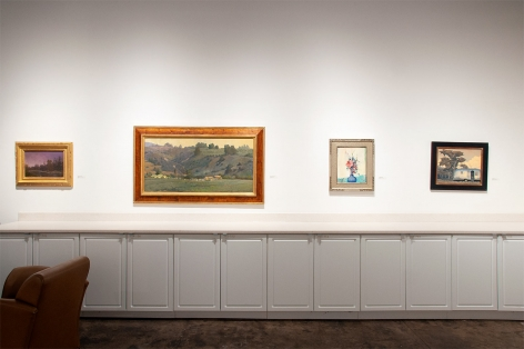 Installation photograph of The Winter Salon II, 2019 with Bjorn Rye, Meredith Brooks Abbott, Leon Dabo, and Jon Francis