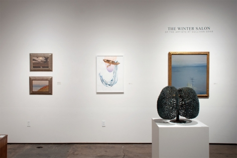 Installation photograph of The Winter Salon, 2021 with Lockwood de Forest, Nathan Huff, Leon Dabo, and Harry Bertoia