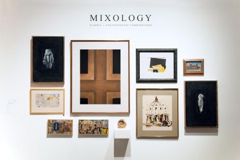 MIXOLOGY exhibition installation with John Nava, Jules Engel, Edgar Ewing, Ken Nack, Eugene Berman, Colin Campbell Cooper, William Dole, Frank Kirk