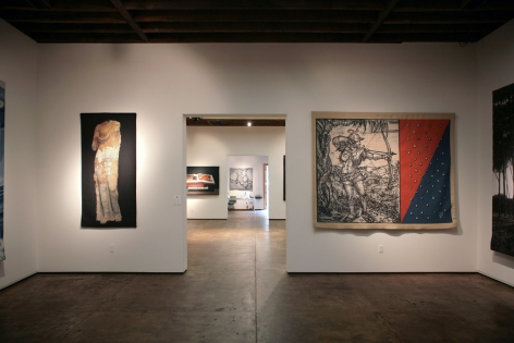 Installation photograph of Tapestries exhibition, Donald Farnsworth, Bruce Coner, Guy Diehl, Alan Magee