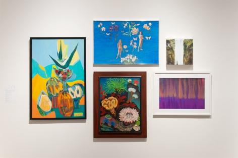 MIXOLOGY installation photograph with Anya Fisher, Jean Swiggett, Angela Perko, Joseph Goldyne, and Harvey Leepa