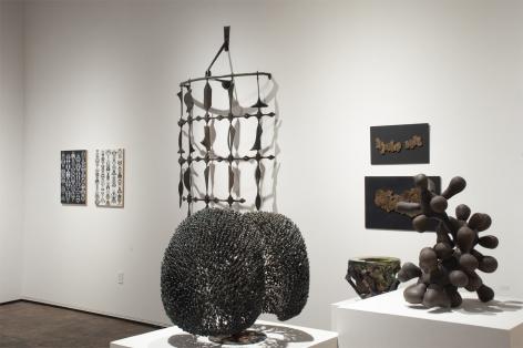 Installation photograph of ORGANIC: Textural & Biomorphic • Abstract & Conceptual: Clay, Wood, Fiber, Paper & Metal, Brad Miller, Neil Goodman, Harry Bertoia, Sidney Gordin, James Haggerty