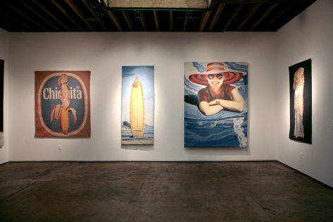 Installation photograph of Tapestries exhibition, Mel Ramos, Hank Pitcher, DJ Hall, and Donald Farnsworth