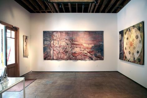 Installation photograph of Tapestries exhibition, Alan Magee, Leon Golub, Squeak Carnwath