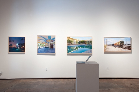 Installation photograph of PATRICIA CHIDLAW: Elsewhere, Paradise with Blue Skies, Grand Lake Theater, Hope Springs, and Freight and First Street Bridge, L.A.