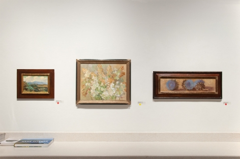 Installation photograph of MEREDITH BROOKS ABBOTT: Homestead with Ceonothus, Tuberoses, and Artichoke Flowers