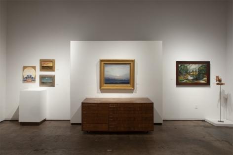 Installation photograph of The Summer Salon 2021, Julika Lackner, Lockwood de Forest, Leon Dabo, Angela Perko, Nathan Huff