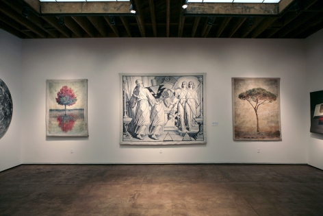 Installation photograph of Tapestries exhibition, Don and Era Farnsworth, Bruce Conner