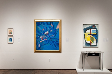 Installation photograph of CALIFORNIA BAUHAUS with KEM Weber, Werner Drewes, and Elise Seeds