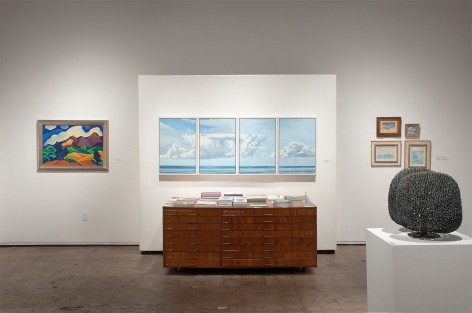 Installation photograph of The Winter Salon, 2021 with Angela Perko, Nicole Strasburg, Nell Brooker Mayhew, Colin Campbell Cooper, Leon Dabo, and Harry Bertoia