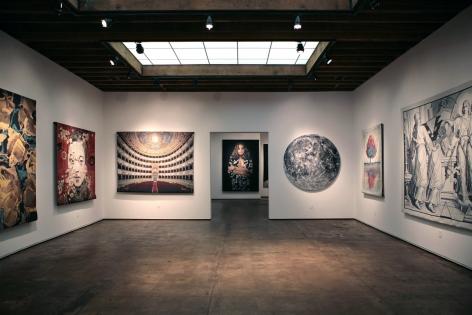 Installation photograph of Tapestries exhibition, Hung Liu, Doug Hall, John Nava, Jeff Sanders, Don and Era Farnsworth, Bruce Conner