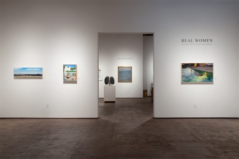 Installation photograph of REAL WOMEN: Realist Art by American Women, Mary-Austin Klein, DJ Hall, Patricia Chidlaw, with Harry Bertoia and Leon Dabo in background