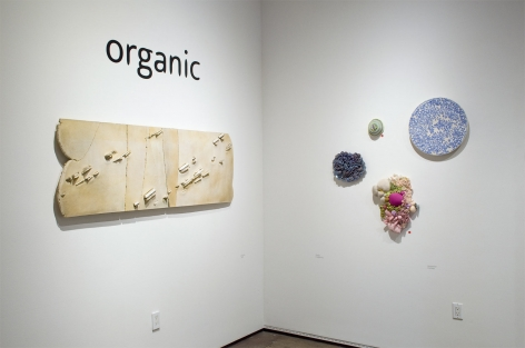 Installation photograph of ORGANIC: Textural & Biomorphic • Abstract & Conceptual: Clay, Wood, Fiber, Paper & Metal, Patrick Hall, Linda Haggerty, Sommer Roman, Brad Miller