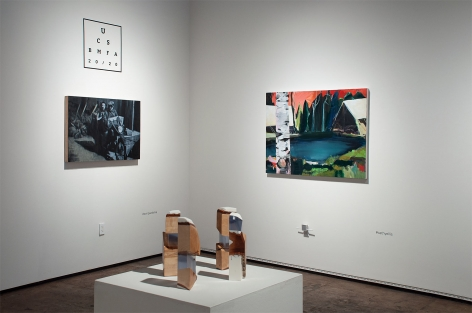 Installation shot of U.C.S.B. M.F.A. 20/20 Exhibition with pieces by Tom Pazderka, R. Nelson Parrish, and Cathy Ellis