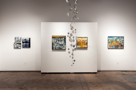 Installation photograph of The Winter Salon II, 2019 with Lawrence Gipe, Wosene Kosrof, and Ken Bortolazzo