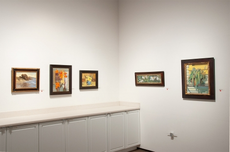 Installation photograph of MEREDITH BROOKS ABBOTT: Homestead with Reflecting On Ray Day, Cannas, Still Life with Pears, Matilija Poppies, and Succulents