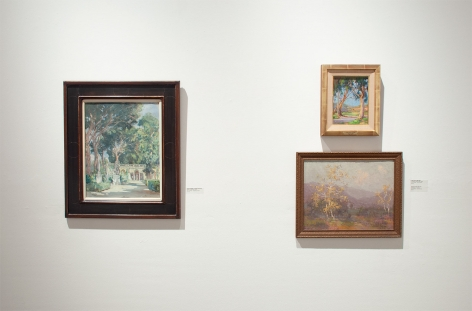 Installation photograph of The Winter Salon, 2020 with Colin Campbell Cooper, Anna Hills and Edgar Payne