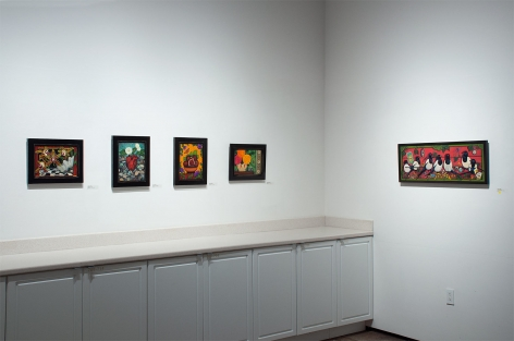 Installation shot of ANGELA PERKO: Just Another Pretty Picture with Lady Lazarus, Watering the Stones, Figs and Thistles, The Mark on the Wall, and One for Sorrow