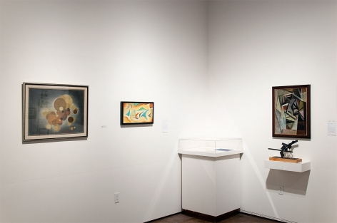 Installation photograph of CALIFORNIA BAUHAUS with Oskar Fischinger, Angela Perko and Sidney Gordin