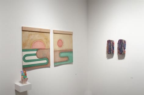 Installation photograph of ORGANIC: Textural & Biomorphic • Abstract & Conceptual: Clay, Wood, Fiber, Paper & Metal, Nathan Hayden, Minga Opazo