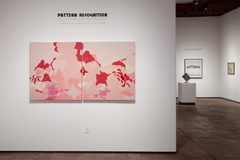Installation photograph of PATTERN RECOGNITION: Claudia Borfiga | Yumiko Glover | Julika Lackner with Eric Beltz and William Dole in the background