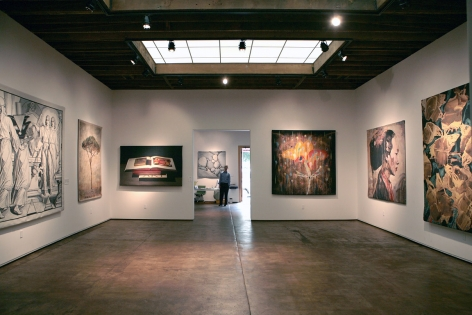 Installation photograph of Tapestries exhibition, Bruce Conner, Don and Era Farnsworth, Guy Diehl, Rupert Garcia, Hung Liu, and Alan Magee