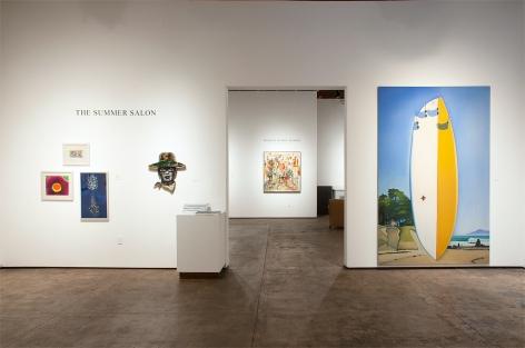 Installation photograph of The Summer Salon, 2020, Harvey Leepa, Werner Drewes, Nathan Huff, Inga Guzyte, Hank Pitcher, with Wosene Worke Kosrof in background