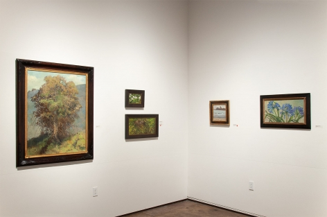 Installation photograph of MEREDITH BROOKS ABBOTT: Homestead with Agapanthas, From Maggie's Beach, Blackberry Blossoms - Study, Nest in the Apricot Tree, and The Eucalyptus