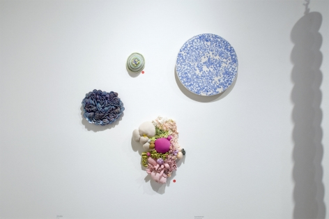 Installation photograph of ORGANIC: Textural & Biomorphic • Abstract & Conceptual: Clay, Wood, Fiber, Paper & Metal, Linda Haggerty, Sommer Roman, Brad Miller