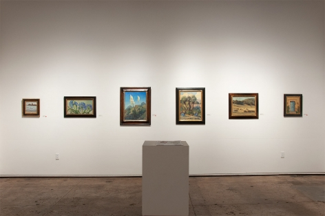 Installation photograph of MEREDITH BROOKS ABBOTT: Homestead with From Maggie's Beach, Agapanthas, Yucca - Into the Blue, By the Entrance - El Mirador, Long Blue Shadows, and Welcome - El Mirador