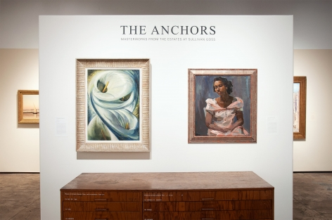 Installation photograph of THE ANCHORS: Masterworks from the Estates at Sullivan Goss, Lyla Marshall Harcoff, Grace Libby Vollmer