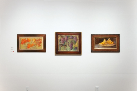 Installation photograph of MEREDITH BROOKS ABBOTT: Homestead with Tiger Lillies, Grapes, and Chantrelle Mushrooms