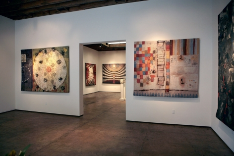 Installation photograph of Tapestries exhibition, Squeak Carnwath