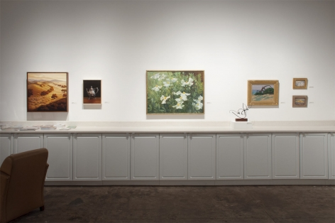 Installation photograph of The Summer Salon 2021, Phoebe Brunner, Leslie Lewis Silger, Sidney Gordin, Roi Clarkson Colman, Colin Campbell Cooper