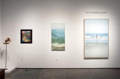 Installation photograph of The Summer Salon 2021, Nathan Huff, Nicole Strasburg, John Nava, Patricia Chidlaw