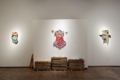INGA GUZYTE #rebelwomen installation photograph, Sonita Alizadeh, Lady Gaga, Michelle Obama