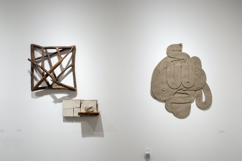 Installation photograph of ORGANIC: Textural & Biomorphic • Abstract & Conceptual: Clay, Wood, Fiber, Paper & Metal, Chuck Arnoldi, Patrick Hall, Stephanie Dotson