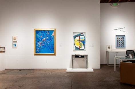 Installation photograph of CALIFORNIA BAUHAUS with Sidney Gordin, KEM Weber, Werner Drewes, and Elise Seeds