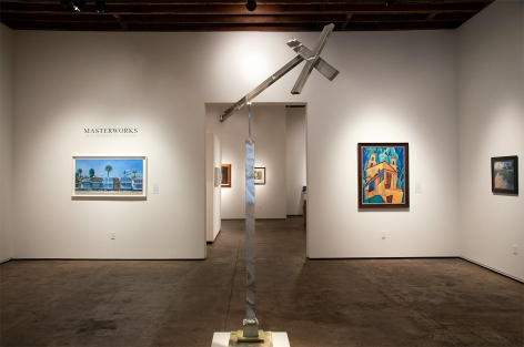 Installation photograph of MASTERWORKS OF THE ARTISTS OF SULLIVAN GOSS, 2019, Hank Pitcher, Ken Bortolazzo, Angela Perko, Charles Arnoldi, Jon Francis
