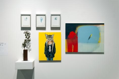 MIXOLOGY installation photograph with Nicole Strasburg, Sidney Gordin, John Nava, and Maria Rendon