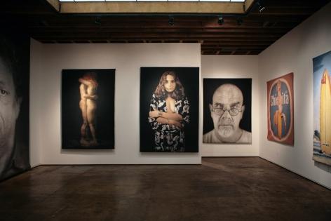 Installation photograph of Tapestries exhibition, Martha Mayer Erlebacher, John Nava, Chuck Close, Mel Ramos, Hank Pitcher