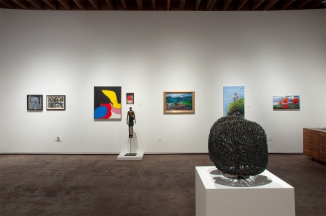 Installation photograph of The Summer Salon, 2020, David Flores, Howard Warshaw, Sidney Gordin, Maria Rendon, Paulo Lima, Channing Peake, Hank Pitcher, Phoebe Brunner, with Harry Bertoia in foreground