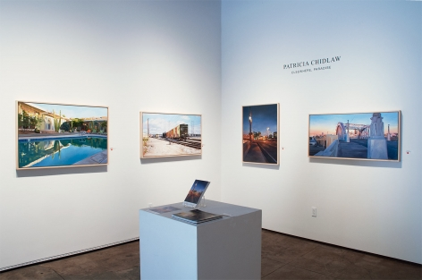 Installation photograph of PATRICIA CHIDLAW: Elsewhere, Paradise with Hope Springs, Freight and First Street Bridge, Gold Line, and Dawn, Sixth Street Viaduct